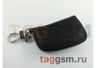 Чехол для автомобильных ключей Kia (кожа) (черный) тип 1