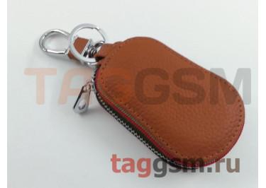 Чехол для автомобильных ключей Mitsubishi (кожа) (коричневый) тип 2