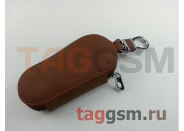 Чехол для автомобильных ключей Jaguar (кожа) (коричневый) тип 1