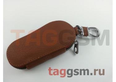 Чехол для автомобильных ключей Hundai (кожа) (коричневый) тип 1