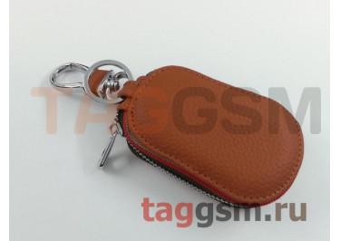 Чехол для автомобильных ключей Nissan (кожа) (коричневый) тип 2