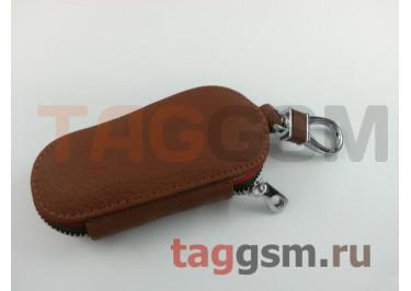 Чехол для автомобильных ключей Kia (кожа) (коричневый) тип 1
