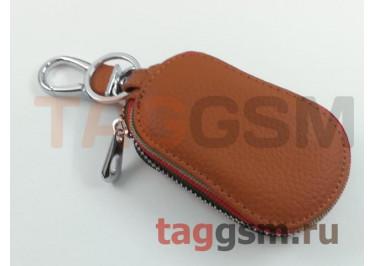 Чехол для автомобильных ключей Jaguar (кожа) (коричневый) тип 2