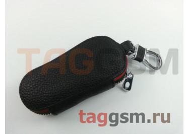 Чехол для автомобильных ключей Ford (кожа) (черный) тип 2
