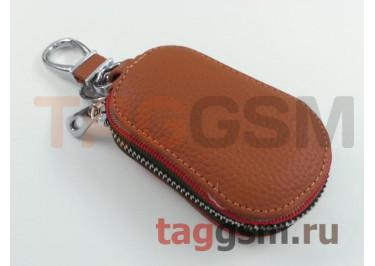 Чехол для автомобильных ключей Ford (кожа) (коричневый) тип 2
