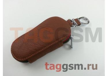 Чехол для автомобильных ключей Porsche (кожа) (коричневый) тип 1