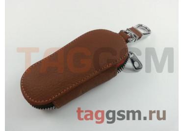 Чехол для автомобильных ключей Citroen (кожа) (коричневый) тип 1