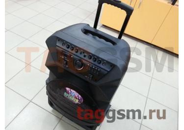 Колонка (K5-15) (Bluetooth+USB+SD+MicroSD+FM+LED+EQ+2 BT-микрофона+пульт)(черная)