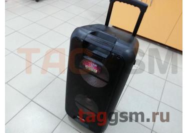 Колонка (V-210ch) (Bluetooth+USB+SD+FM+AUX+LED+беспроводной микрофон+дисплей+пульт) (черная)