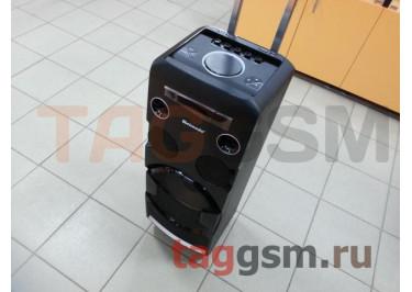 Колонка (MH-338A) (Bluetooth+USB+FM+AUX+LED+2 BT-микрофона+дисплей+пульт) (черная)