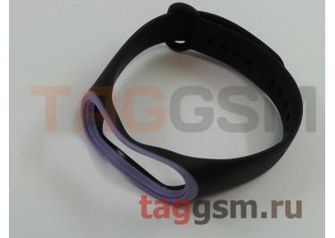 Браслет для Xiaomi Mi Band 3 / 4 (черный с фиолетовой вставкой)