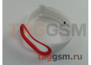 Браслет для Xiaomi Mi Band 3 / 4 (белый с красной вставкой)