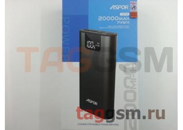 Портативное зарядное устройство (Power Bank) (Aspor A378), 2USB 3.0 / Type-C Емкость 20000mAh (черный)