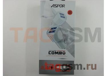 Автомобильное зарядное устройство USB 2400mA 2 выхода USB + кабель USB - micro USB, (A905) ASPOR