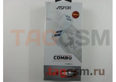 Автомобильное зарядное устройство USB 2400mA 2 выхода USB + кабель USB - Type-C, (A905) ASPOR