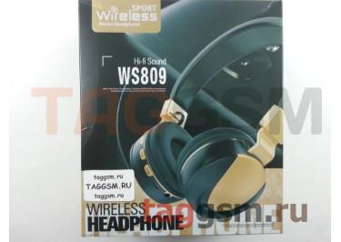 Беспроводные наушники (полноразмерные Bluetooth) (золотые) WS-809