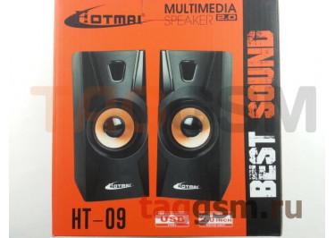 Колонки мультимедийные Hotmai 2.0, мощность 2х2,5 Вт (RMS), USB, черно-золотые (HT-09)