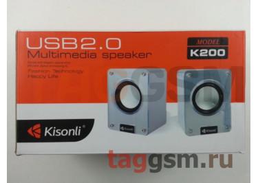 Колонки мультимедийные Kisonli 2.0, мощность 2х3 Вт (RMS), USB, черные (K200)
