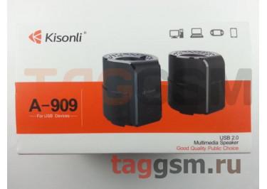 Колонки мультимедийные Kisonli 2.0, мощность 2х3 Вт (RMS), USB, черные (A-909)