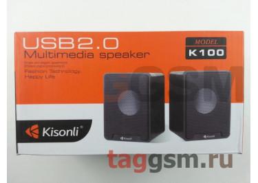 Колонки мультимедийные Kisonli 2.0, мощность 2х3 Вт (RMS), USB, черные (K100)