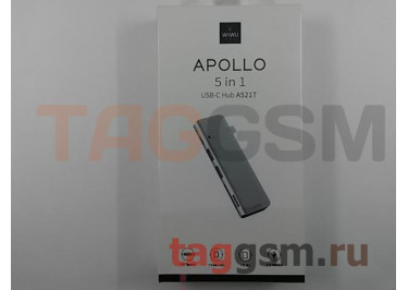 USB Type-C HUB 5 в 1 (Разъемы Type-C, 2xUSB; Картридер MicroSD, SD) (Apollo A521T) (серый), Wiwu