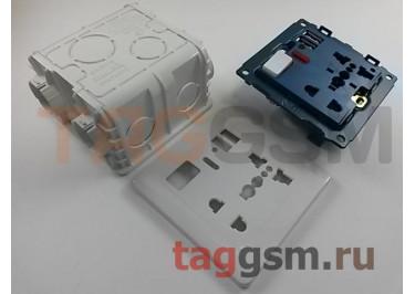 Розетка универсальная, для всех типов вилок (13А, 250V) + 2 USB (5v 1,5-2,1A) + монтажная коробка (белый)