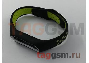 Браслет для Xiaomi Mi Band 2 (с отверстиями, черно-зеленый)