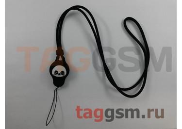 Шнурок на шею (силикон, чёрный) Remax