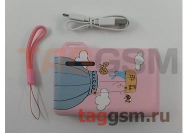 Портативное зарядное устройство (Power Bank) (Aspor A358, 2USB выхода 2400mA  /  24000mA) Емкость 10000mAh (с рисунком, розовый)