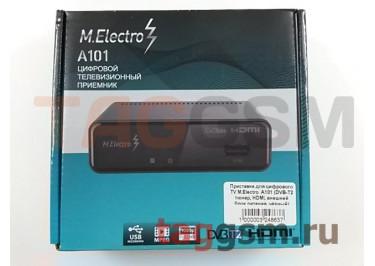 Приставка для цифрового TV M.Electro  A101 (DVB-T2 тюнер, HDMI, внешний блок питания, чёрный)
