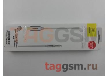 Аудио-кабель AUX 3.5mm - Type-C (серебро) Baseus M01