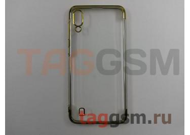 Задняя накладка для Samsung A10 / A105 Galaxy A10 (2019) (силикон, прозрачная, с золотой окантовкой (Aura)) NEYPO