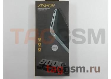 Портативное зарядное устройство (Power Bank) (Aspor A322, 2USB выхода 1000mAh  /  2000mAh) Емкость 9000mAh (белый)