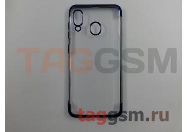 Задняя накладка для Samsung A20 / A205 Galaxy A20 (2019) (силикон, прозрачная, с синей окантовкой (Aura)) NEYPO