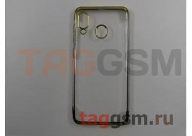 Задняя накладка для Samsung A20 / A205 Galaxy A20 (2019) (силикон, прозрачная, с золотой окантовкой (Aura)) NEYPO