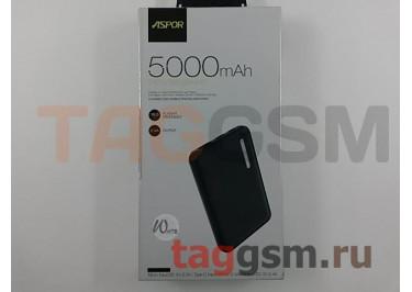Портативное зарядное устройство (Power Bank) (Aspor A355, 2 входа micro USB / Type-C, USB выход 2400mA) Емкость 5000mAh (белый)