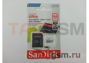 Micro SDXC 64Gb SanDisk Ultra Android 10 UHS-1 80Mb / s c адаптером SD