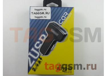 Блок питания USB (авто) на 2 порта USB 2400mAh + кабель USB - Type-C (в коробке) (черный), (ES-130C) Earldom
