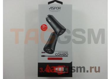 Автомобильное зарядное устройство USB 3400mA 2 выхода USB + кабель USB - Type-C, (A918) ASPOR (красный)