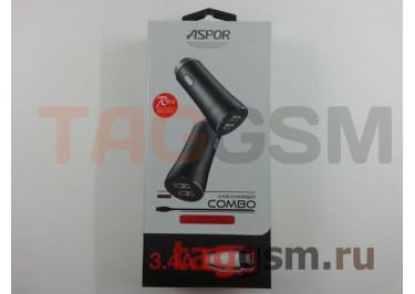 Автомобильное зарядное устройство USB 3400mA 2 выхода USB + кабель USB - micro USB, (A918) ASPOR (красный)
