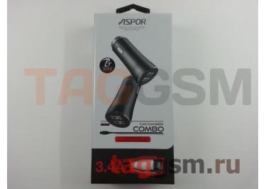 Автомобильное зарядное устройство USB 3400mA 2 выхода USB + кабель USB - Lightning, (A918) ASPOR (черный)