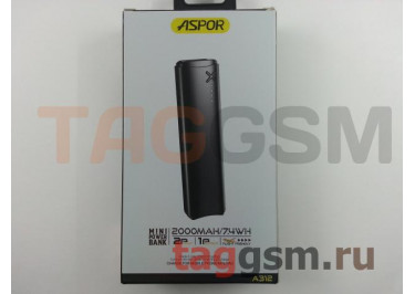 Портативное зарядное устройство (mini Power Bank) (Aspor A312, 1 вход micro USB, 1USB выход 2000mA) Емкость 2000mAh (черный)