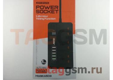 Сетевой фильтр Aspor (A503) 2.0 м, 3 розетки + 5 USB 3.4A (черный)