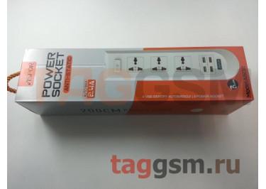 Сетевой фильтр Aspor (A502) 2.0 м, 3 розетки + 4 USB 2.4A (черный)