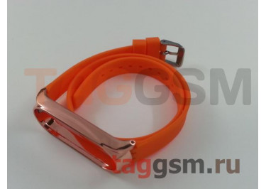 Браслет для Xiaomi Mi Band 3 / 4 (с металлическим ободком, оранжевый (Hermes))