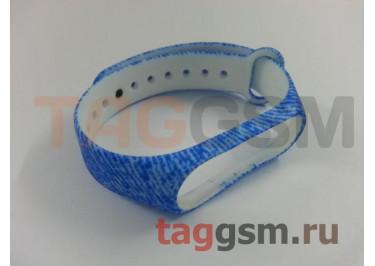 Браслет для Xiaomi Mi Band 3 / 4 (голубой с узорами)