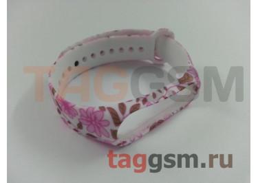 Браслет для Xiaomi Mi Band 3 / 4 (белый, с розовыми цветами)