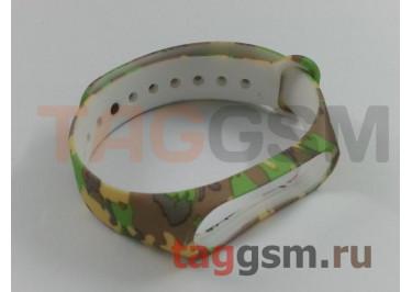 Браслет для Xiaomi Mi Band 3 / 4 (коричневый с зелеными узорами)
