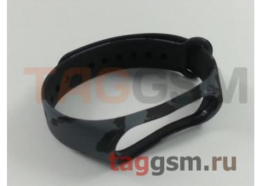 Браслет для Xiaomi Mi Band 3 / 4 (черный, голубой камуфляж)
