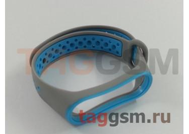 Браслет для Xiaomi Mi Band 3 / 4 (серый, с голубыми кругами)